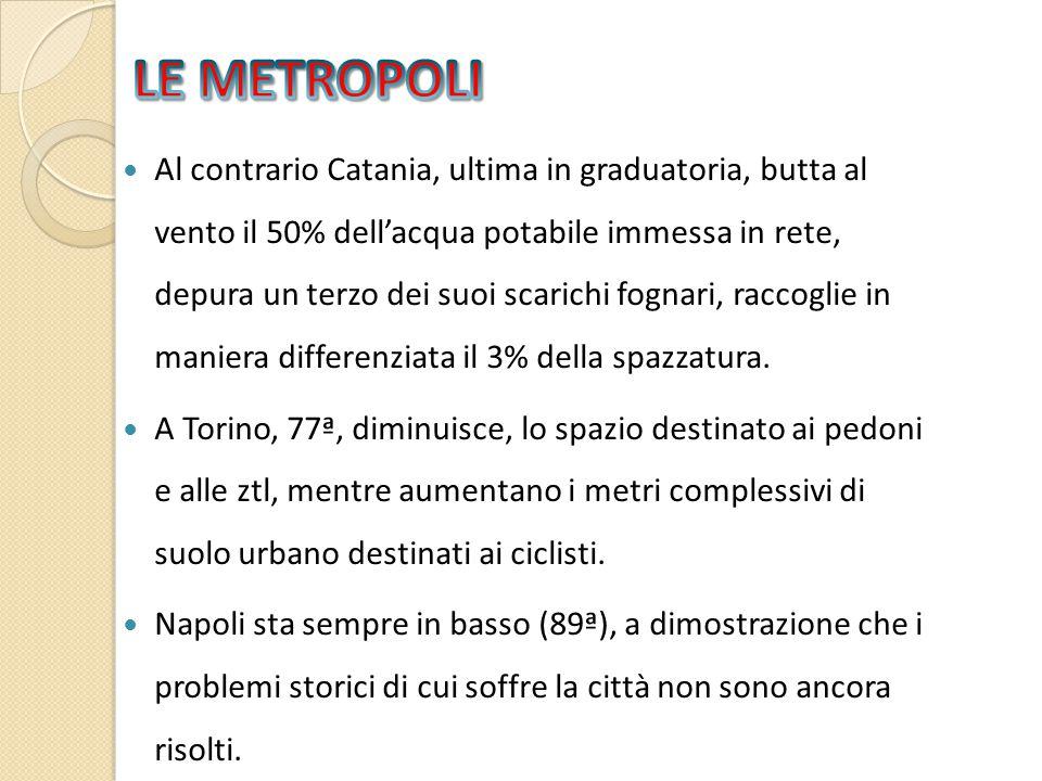 Al contrario Catania, ultima in graduatoria, butta al vento il 50% dell'acqua potabile immessa in rete, depura un terzo dei suoi scarichi fognari, raccoglie in maniera differenziata il 3% della spazzatura.