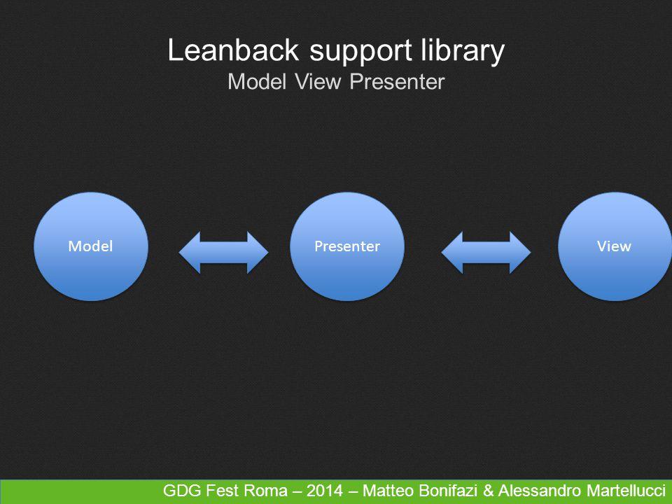 Leanback support library Model View Presenter Presenter Model View GDG Fest Roma – 2014 – Matteo Bonifazi & Alessandro Martellucci