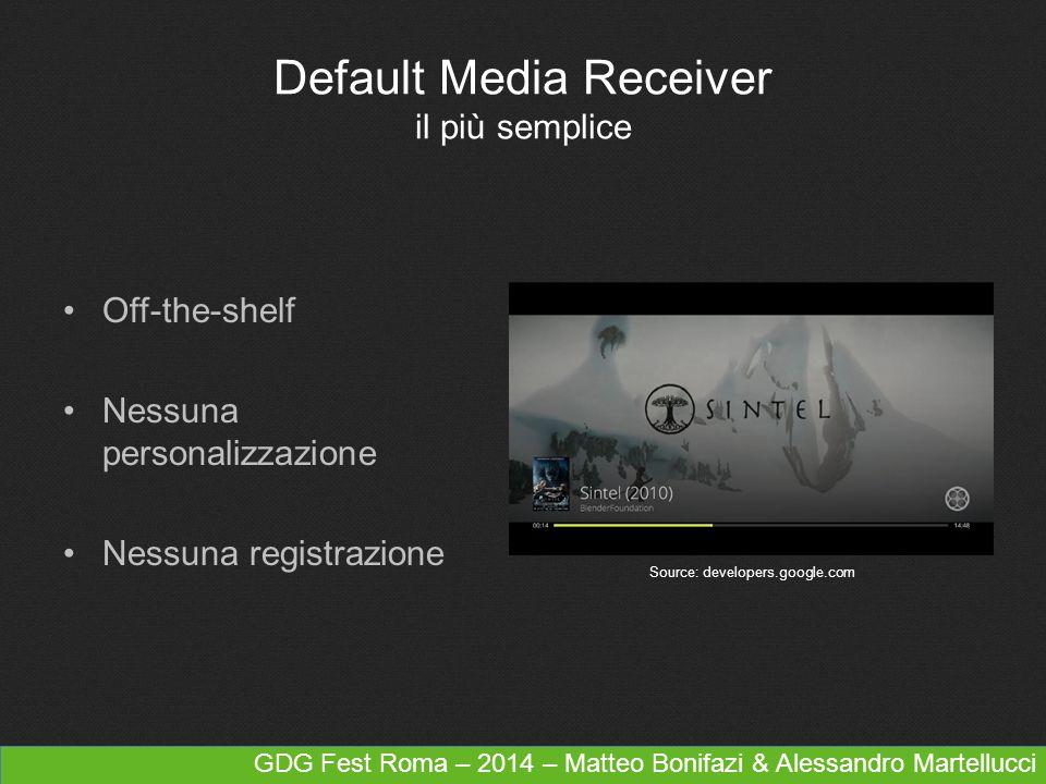 GDG Fest Roma – 2014 – Matteo Bonifazi & Alessandro Martellucci Default Media Receiver il più semplice Off-the-shelf Nessuna personalizzazione Nessuna