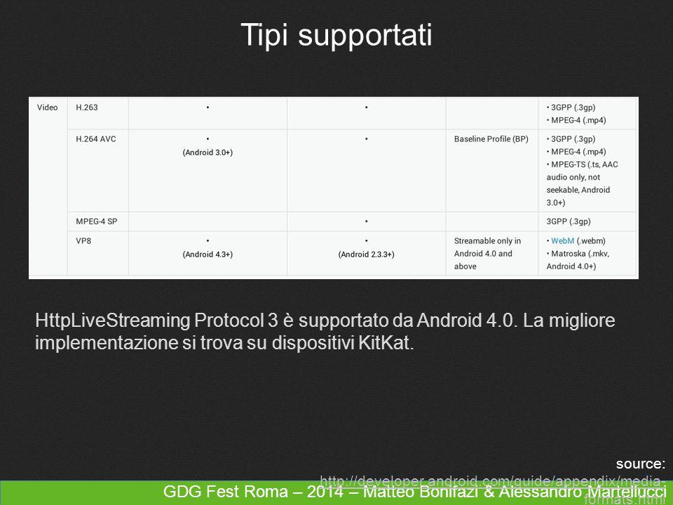 GDG Fest Roma – 2014 – Matteo Bonifazi & Alessandro Martellucci Tipi supportati HttpLiveStreaming Protocol 3 è supportato da Android 4.0. La migliore
