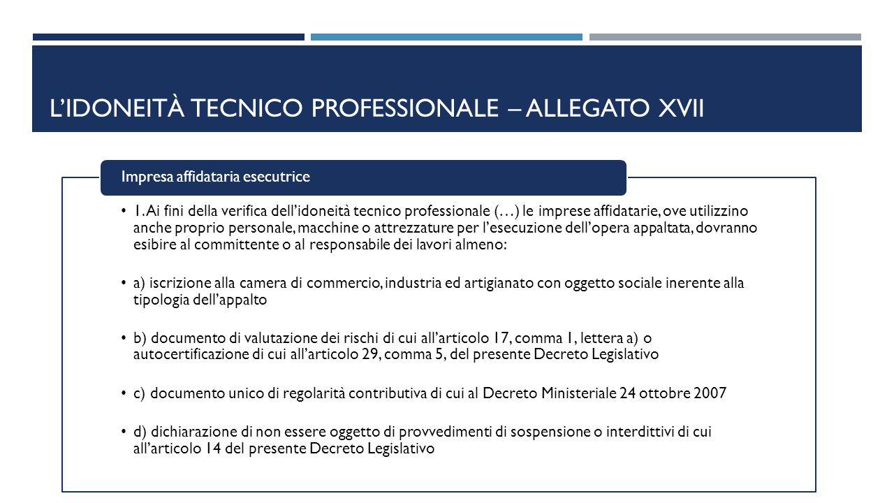 L'IDONEITÀ TECNICO PROFESSIONALE – ALLEGATO XVII 1. Ai fini della verifica dell'idoneità tecnico professionale (…) le imprese affidatarie, ove utilizz