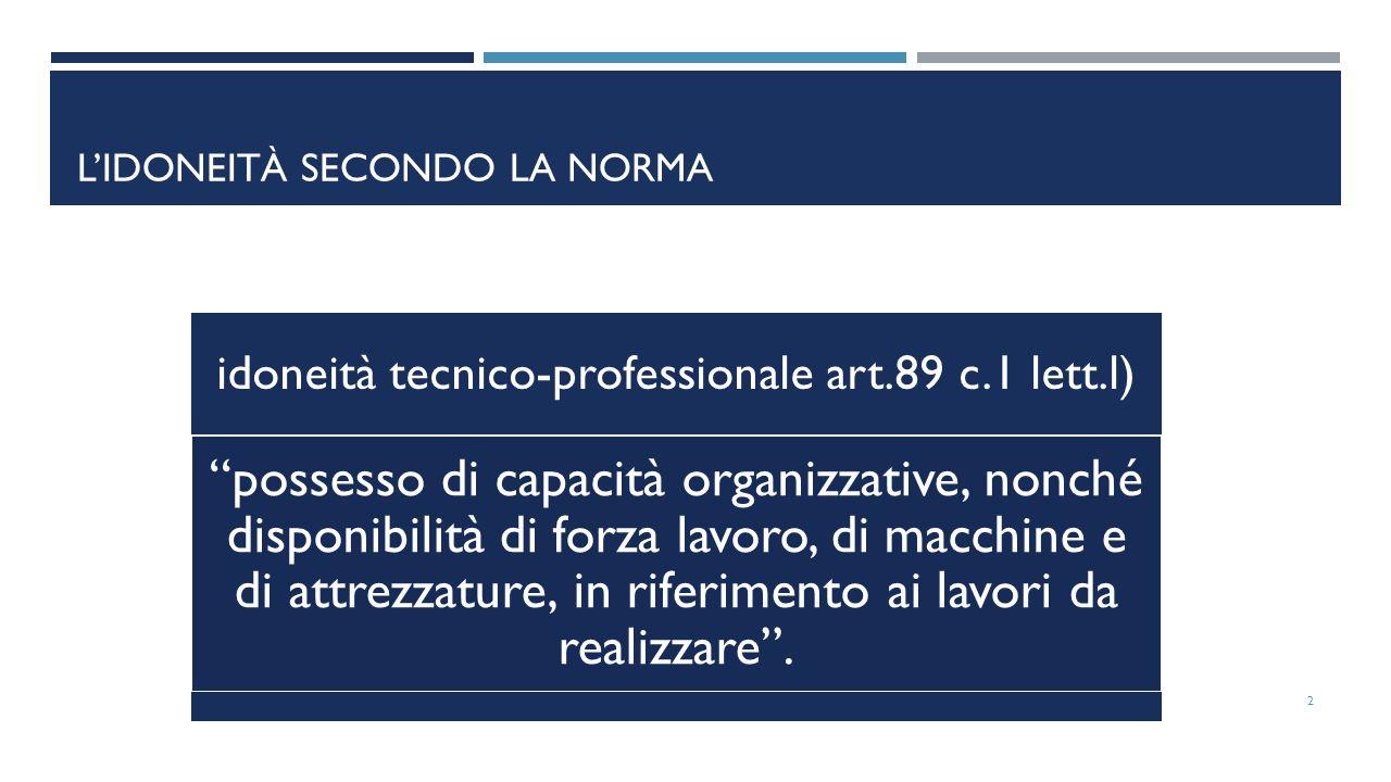 """idoneità tecnico-professionale art.89 c.1 lett.l) """"possesso di capacità organizzative, nonché disponibilità di forza lavoro, di macchine e di attrezza"""