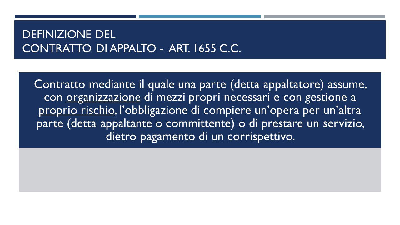 DEFINIZIONE DEL CONTRATTO DI APPALTO - ART. 1655 C.C. Contratto mediante il quale una parte (detta appaltatore) assume, con organizzazione di mezzi pr