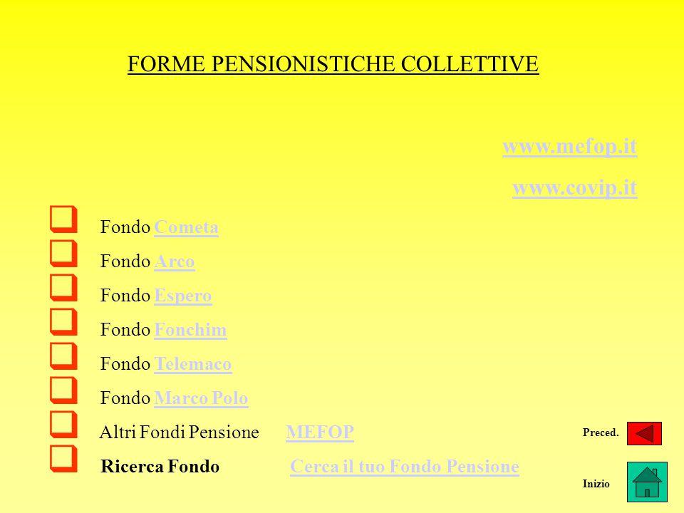 FORME PENSIONISTICHE COLLETTIVE www.mefop.it www.covip.it  Fondo CometaCometa  Fondo ArcoArco  Fondo EsperoEspero  Fondo FonchimFonchim  Fondo Te