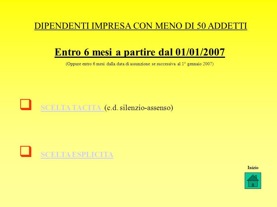 DIPENDENTI IMPRESA CON MENO DI 50 ADDETTI  SCELTA TACITA (c.d.