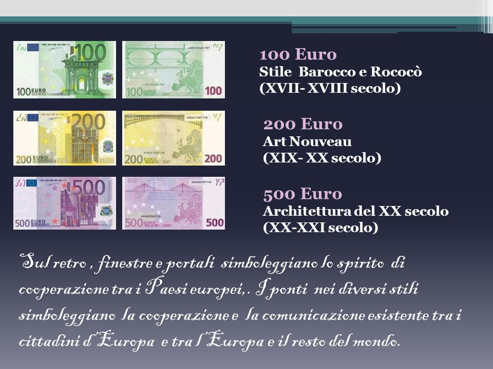 L'artista austriaco Robert Kalina per la realizzazione delle banconote in euro ha scelto il tema