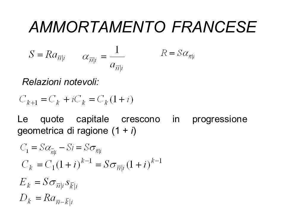 AMMORTAMENTO FRANCESE Relazioni notevoli: Le quote capitale crescono in progressione geometrica di ragione (1 + i)