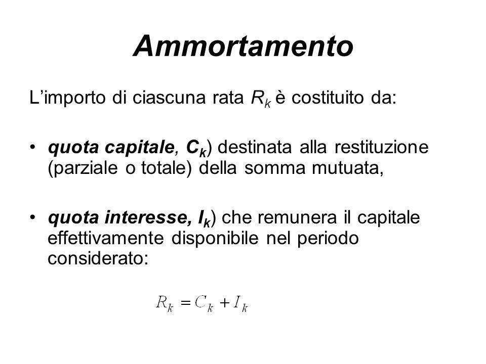 Ammortamento L'importo di ciascuna rata R k è costituito da: quota capitale, C k ) destinata alla restituzione (parziale o totale) della somma mutuata, quota interesse, I k ) che remunera il capitale effettivamente disponibile nel periodo considerato: