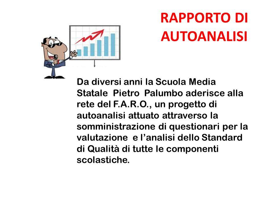 RAPPORTO DI AUTOANALISI Da diversi anni la Scuola Media Statale Pietro Palumbo aderisce alla rete del F.A.R.O., un progetto di autoanalisi attuato att