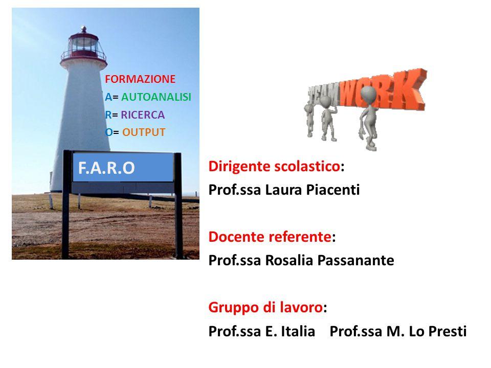 F.A.R.O FORMAZIONE A= AUTOANALISI R= RICERCA O= OUTPUT Dirigente scolastico: Prof.ssa Laura Piacenti Docente referente: Prof.ssa Rosalia Passanante Gr