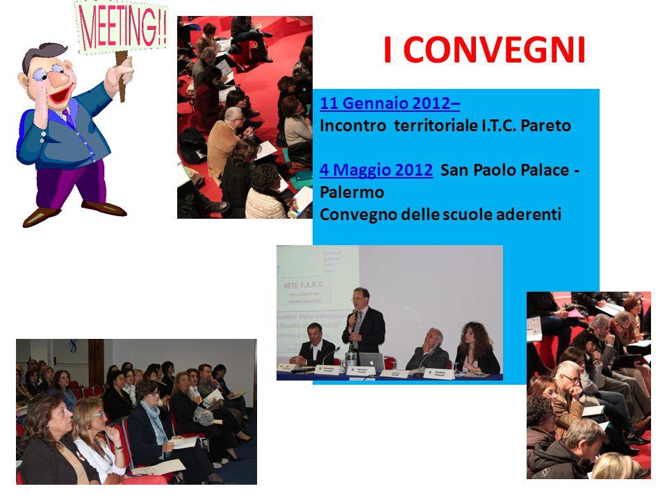 I CONVEGNI 11 Gennaio 2012– Incontro territoriale I.T.C. Pareto 4 Maggio 2012 San Paolo Palace - Palermo Convegno delle scuole aderenti