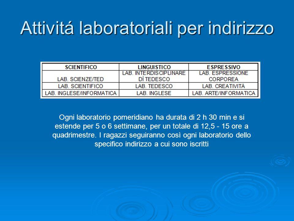 Attivitá laboratoriali per indirizzo Ogni laboratorio pomeridiano ha durata di 2 h 30 min e si estende per 5 o 6 settimane, per un totale di 12,5 - 15 ore a quadrimestre.