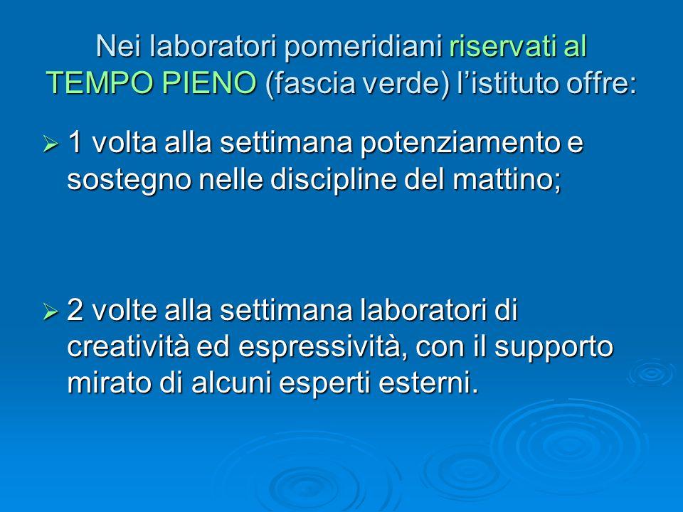Nei laboratori pomeridiani riservati al TEMPO PIENO (fascia verde) l'istituto offre:  1 volta alla settimana potenziamento e sostegno nelle disciplin
