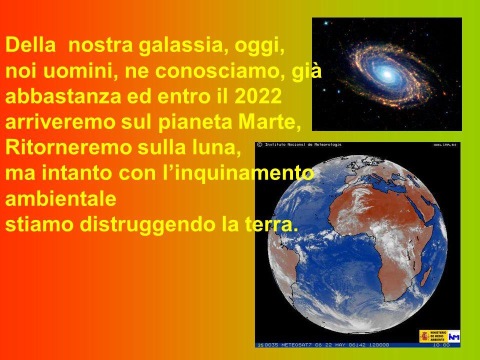 Della nostra galassia, oggi, noi uomini, ne conosciamo, già abbastanza ed entro il 2022 arriveremo sul pianeta Marte, Ritorneremo sulla luna, ma intanto con l'inquinamento ambientale stiamo distruggendo la terra.