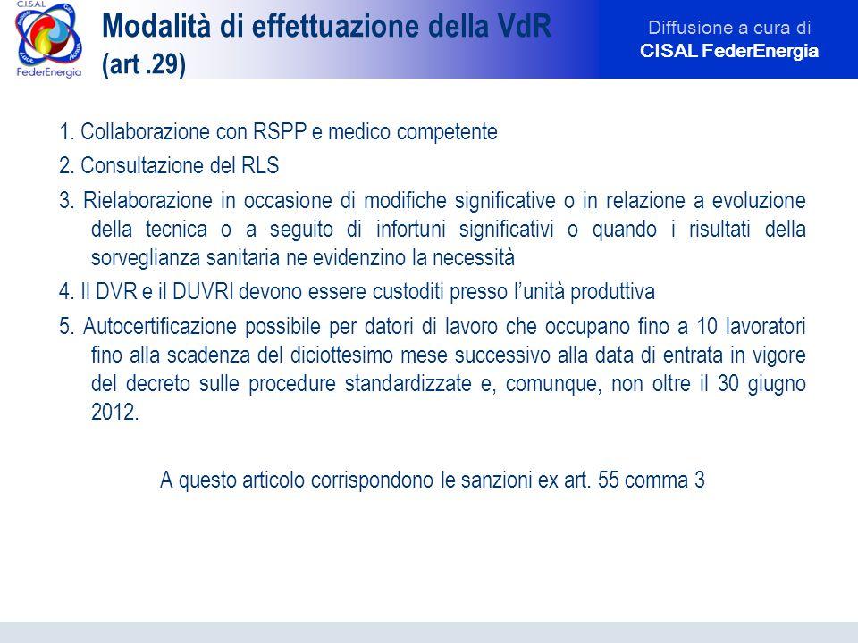 Diffusione a cura di CISAL FederEnergia Modalità di effettuazione della VdR (art.29) 1. Collaborazione con RSPP e medico competente 2. Consultazione d