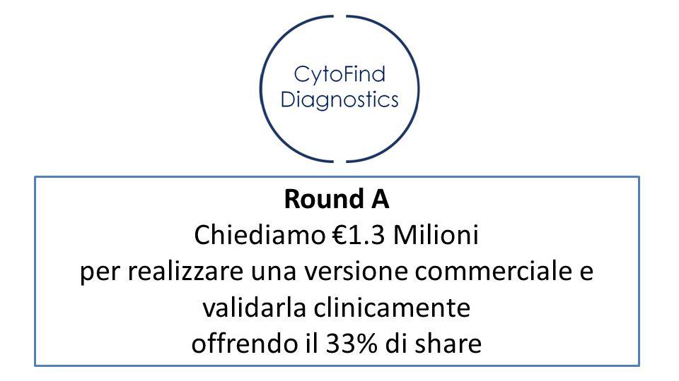 Round A Chiediamo €1.3 Milioni per realizzare una versione commerciale e validarla clinicamente offrendo il 33% di share