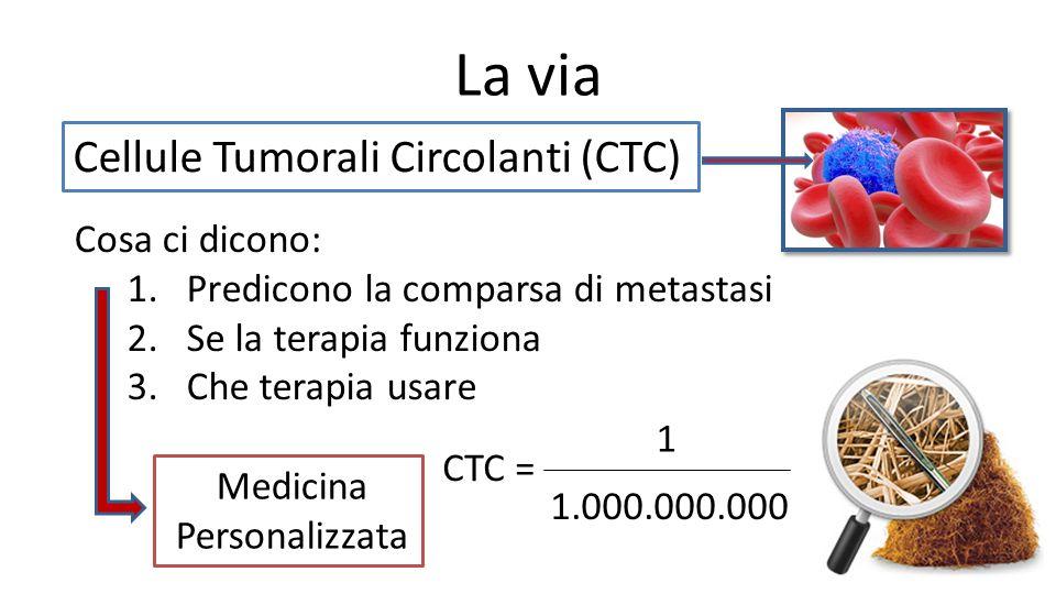 La via Cellule Tumorali Circolanti (CTC) Cosa ci dicono: 1.Predicono la comparsa di metastasi 2.Se la terapia funziona 3.Che terapia usare Medicina Pe