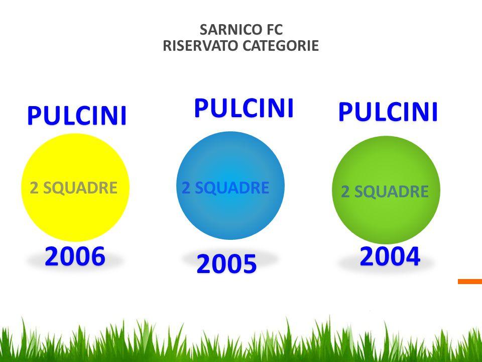 SARNICO FC RISERVATO CATEGORIE 2 SQUADRE 2006 2005 2004 PULCINI PULCINI PULCINI