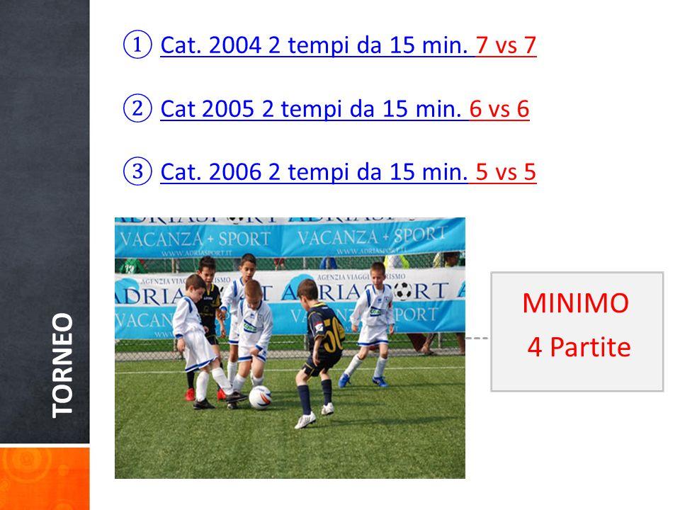 TORNEO ①Cat. 2004 2 tempi da 15 min. 7 vs 7 ②Cat 2005 2 tempi da 15 min.