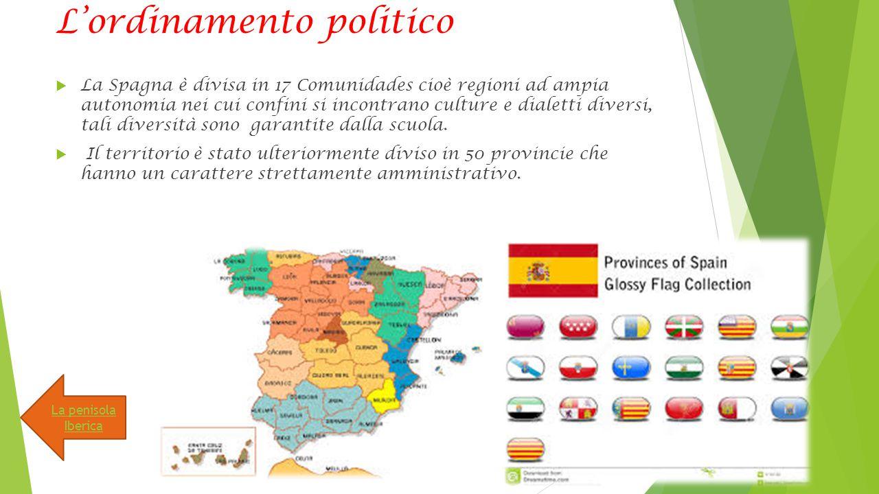 L'ordinamento politico  La Spagna è divisa in 17 Comunidades cioè regioni ad ampia autonomia nei cui confini si incontrano culture e dialetti diversi, tali diversità sono garantite dalla scuola.