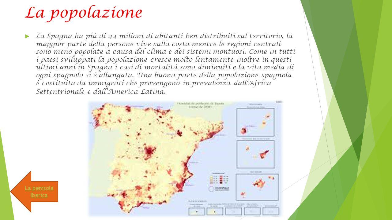 La popolazione  La Spagna ha più di 44 milioni di abitanti ben distribuiti sul territorio, la maggior parte della persone vive sulla costa mentre le regioni centrali sono meno popolate a causa del clima e dei sistemi montuosi.