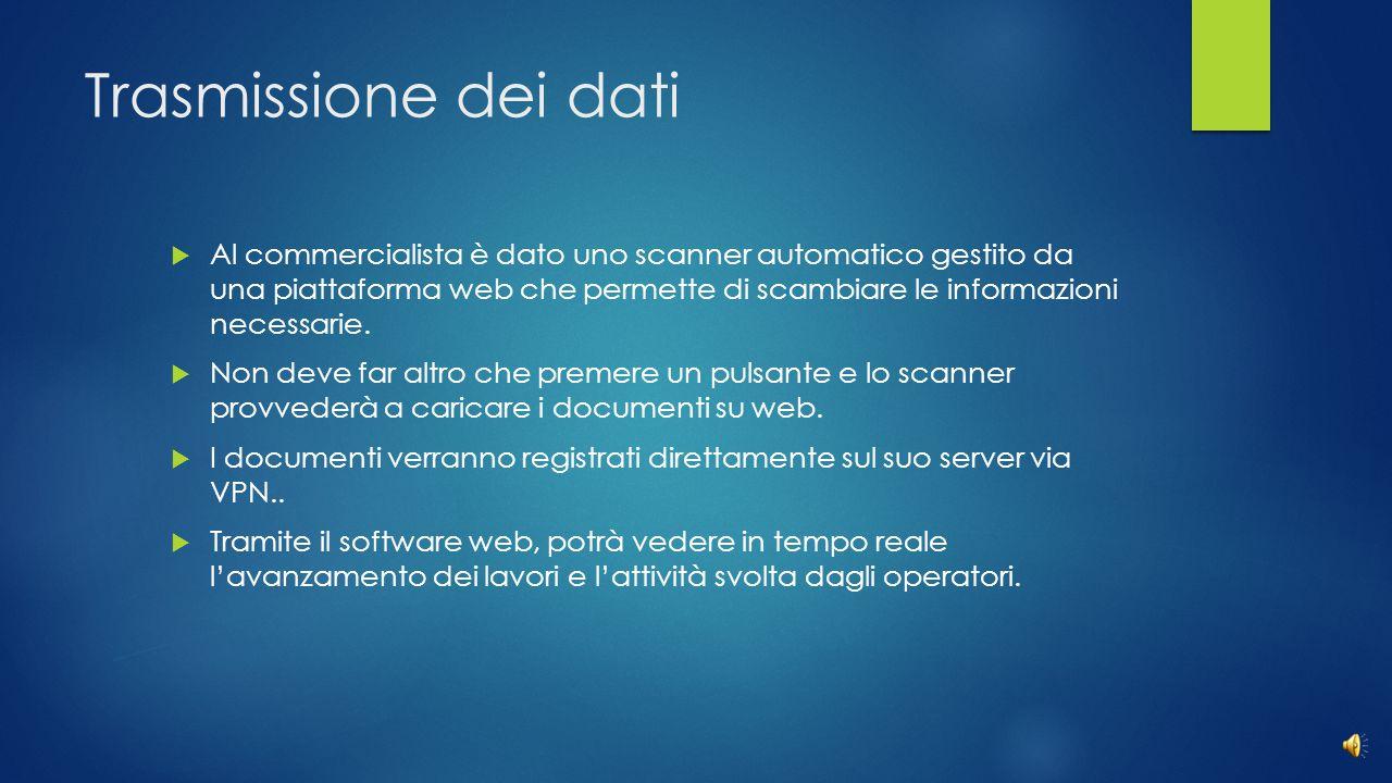 Trasmissione dei dati  Al commercialista è dato uno scanner automatico gestito da una piattaforma web che permette di scambiare le informazioni necessarie.
