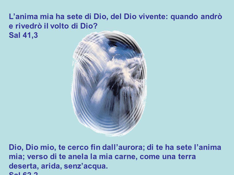 L'anima mia ha sete di Dio, del Dio vivente: quando andrò e rivedrò il volto di Dio.