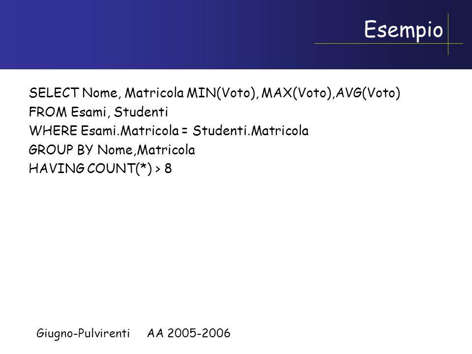 Giugno-Pulvirenti AA 2005-2006 Esempio Creare una query che restiuisca: nome, matricola, voto minimo,voto massimo, voto medio per gli studenti che hanno dato più di 8 materie