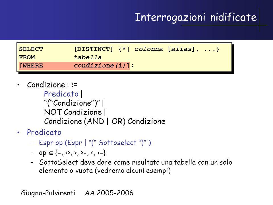 Giugno-Pulvirenti AA 2005-2006 Limitare le righe selezionate –Limitare le righe tramite l'uso della clausola WHERE.