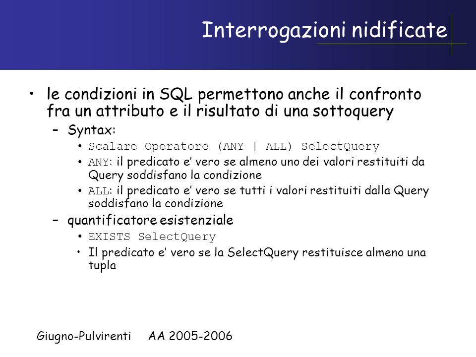 Giugno-Pulvirenti AA 2005-2006 Interrogazioni nidificate Condizione : := Predicato | ( Condizione ) | NOT Condizione | Condizione (AND | OR) Condizione Predicato –Espr op (Espr | ( Sottoselect ) ) –op  {=, <>, >, >=, <, <=} –SottoSelect deve dare come risultato una tabella con un solo elemento o vuota (vedremo alcuni esempi) SELECT[DISTINCT] {*| colonna [alias],...} FROM tabella [WHEREcondizione(i)];