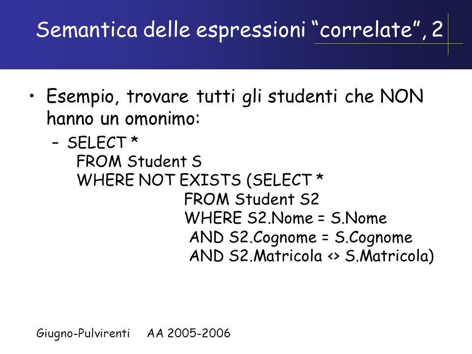 Giugno-Pulvirenti AA 2005-2006 Semantica delle espressioni correlate La query piu' interna puo' usare variabili della query esterna L'interrogazione interna viene eseguita una volta per ciascuna ennupla dell'interrogazione esterna Esempio, trovare tutti gli studenti che hanno un omonimo: –SELECT * FROM Student S WHERE EXISTS (SELECT * FROM Student S2 WHERE S2.Nome = S.Nome AND S2.Cognome = S.Cognome AND S2.Matricola <> S.Matricola)