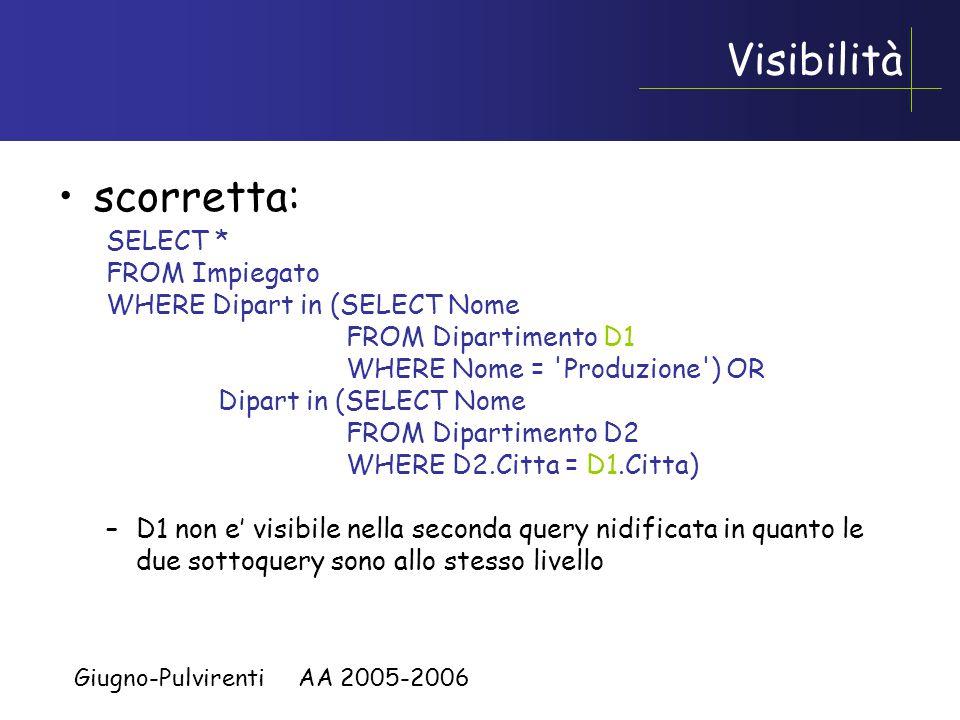 Giugno-Pulvirenti AA 2005-2006 Confronto su piu' attributi Il confronto con il risultato di una query nidificata puo' essere basato su piu' attributi Stessa query di prima, trovare tutti gli studenti che hanno un omonimo: –SELECT * FROM Student S WHERE (Nome, Cognome) IN (SELECT Nome, Cognome FROM Student S2 WHERE S2.Matricola <> S.Matricola)