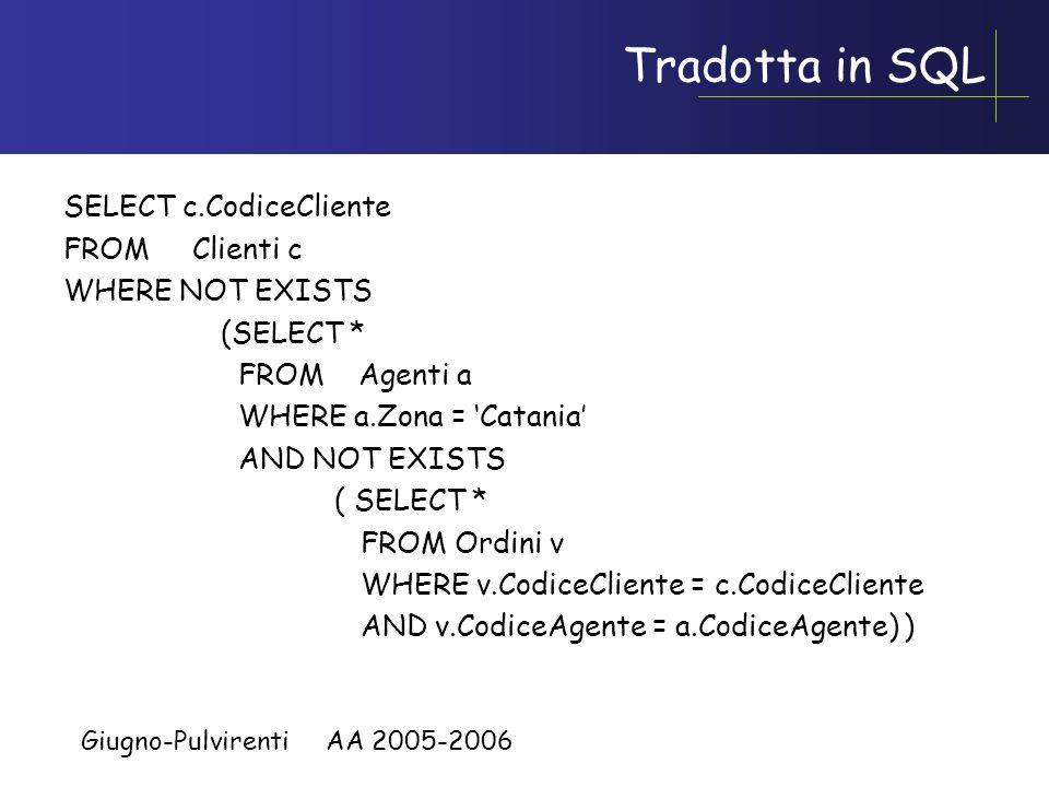 Giugno-Pulvirenti AA 2005-2006 Esempio: ancora il quantificatore Universale Supponiamo di voler trovare i codici di quei clienti che hanno fatto ordini a TUTTI gli agenti di Catania.