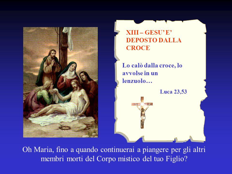 XIII – GESU' E' DEPOSTO DALLA CROCE Oh Maria, fino a quando continuerai a piangere per gli altri membri morti del Corpo mistico del tuo Figlio? Lo cal