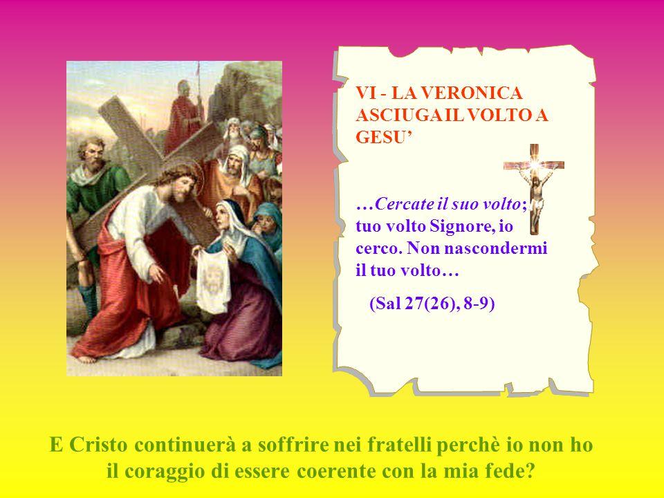 VI - LA VERONICA ASCIUGA IL VOLTO A GESU' …Cercate il suo volto; il tuo volto Signore, io cerco. Non nascondermi il tuo volto… (Sal 27(26), 8-9) E Cri