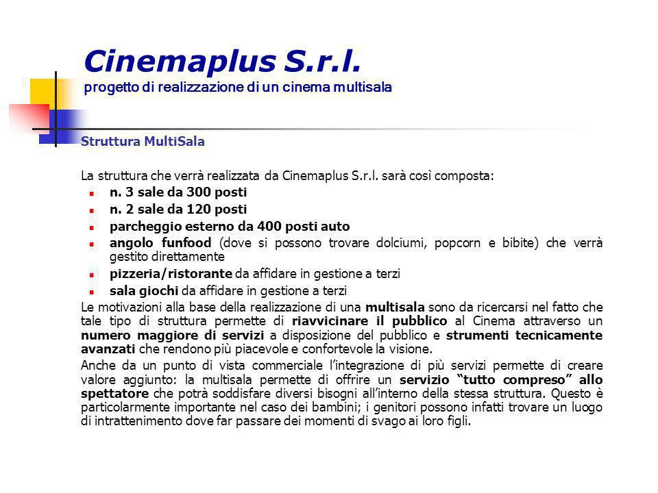 Cinemaplus S.r.l. progetto di realizzazione di un cinema multisala Struttura MultiSala La struttura che verrà realizzata da Cinemaplus S.r.l. sarà cos