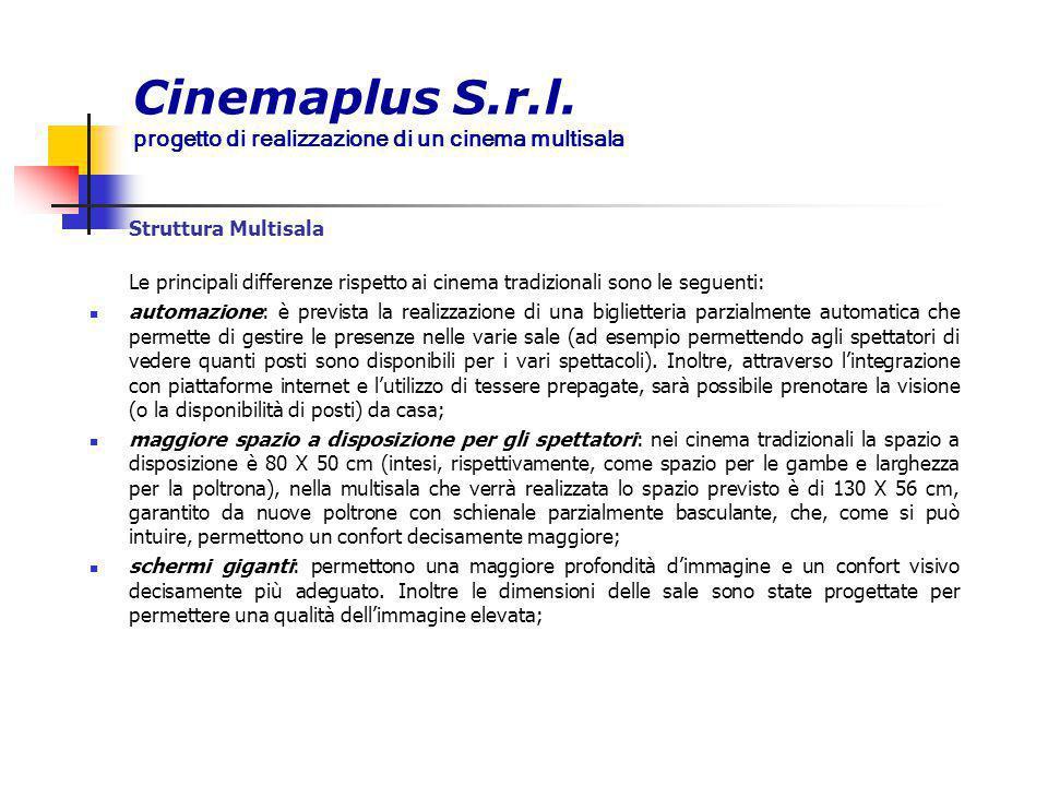 Cinemaplus S.r.l. progetto di realizzazione di un cinema multisala Struttura Multisala Le principali differenze rispetto ai cinema tradizionali sono l