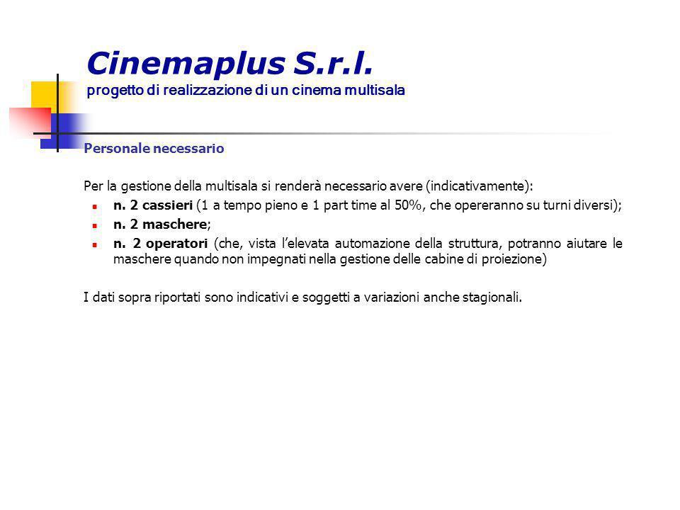 Cinemaplus S.r.l. progetto di realizzazione di un cinema multisala Personale necessario Per la gestione della multisala si renderà necessario avere (i
