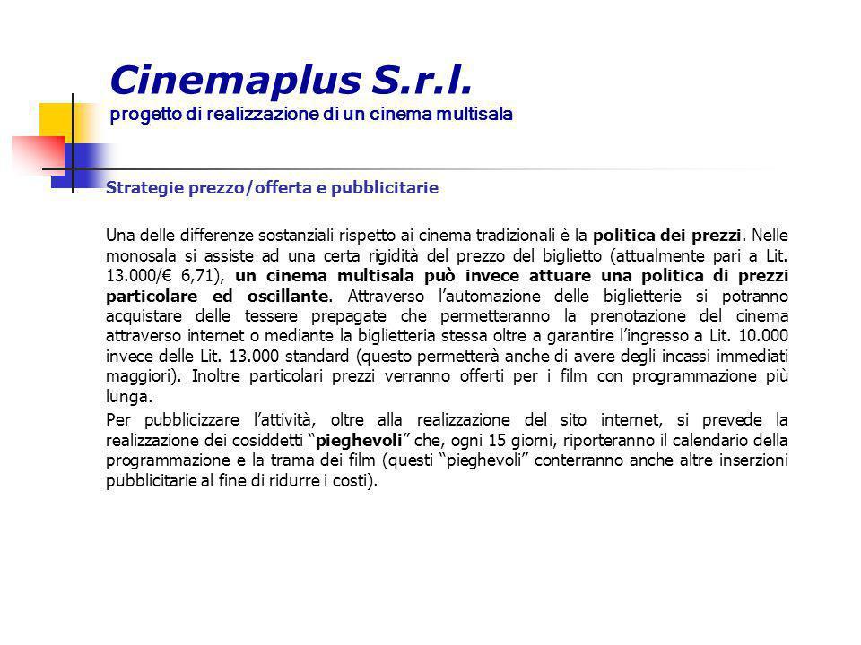 Cinemaplus S.r.l. progetto di realizzazione di un cinema multisala Strategie prezzo/offerta e pubblicitarie Una delle differenze sostanziali rispetto
