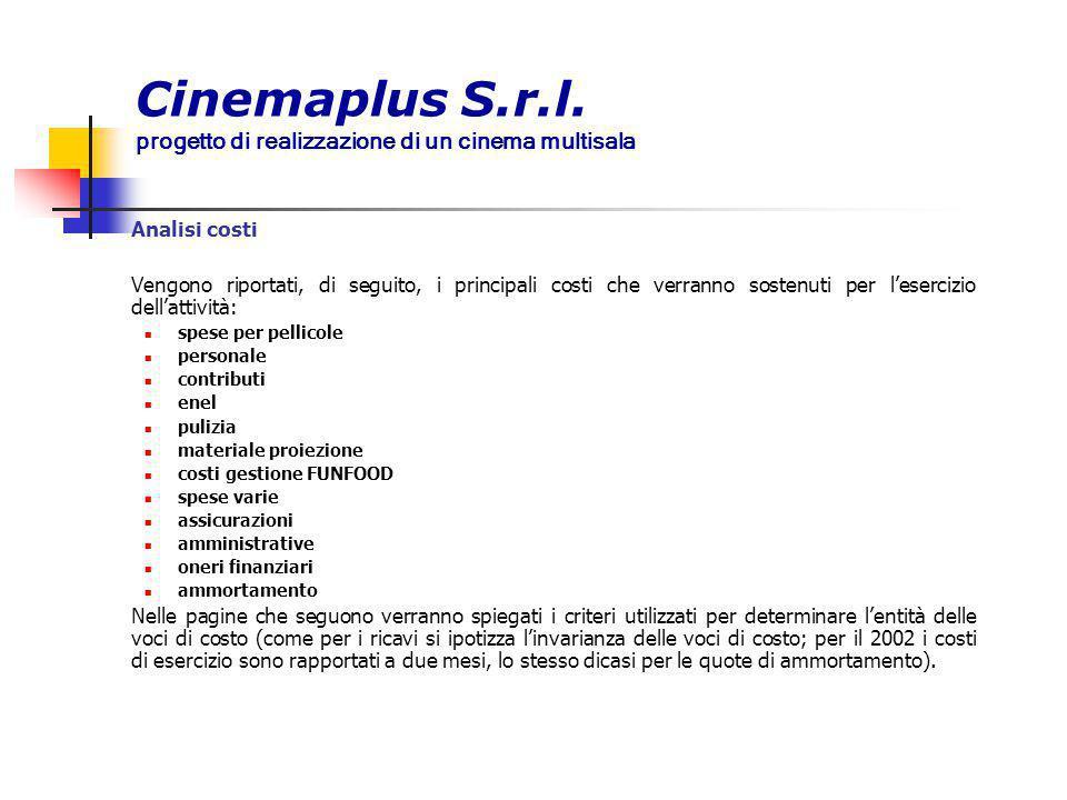 Cinemaplus S.r.l. progetto di realizzazione di un cinema multisala Analisi costi Vengono riportati, di seguito, i principali costi che verranno sosten