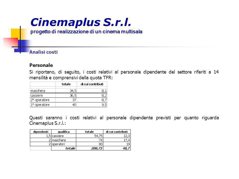 Cinemaplus S.r.l. progetto di realizzazione di un cinema multisala Analisi costi Personale Si riportano, di seguito, i costi relativi al personale dip