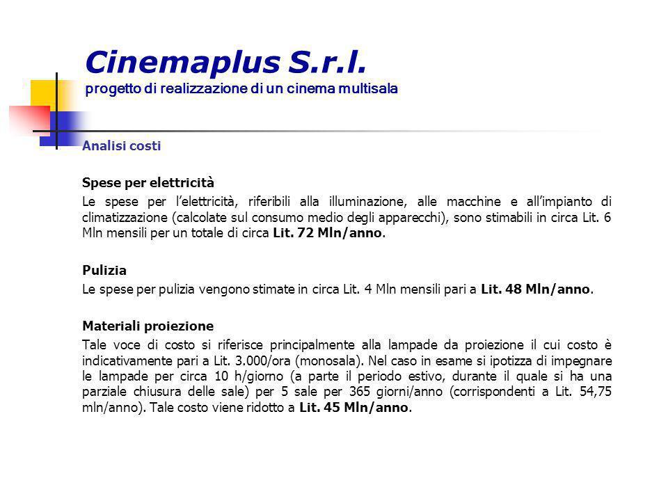 Cinemaplus S.r.l. progetto di realizzazione di un cinema multisala Analisi costi Spese per elettricità Le spese per l'elettricità, riferibili alla ill