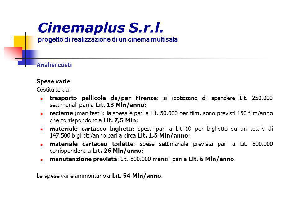 Cinemaplus S.r.l. progetto di realizzazione di un cinema multisala Analisi costi Spese varie Costituite da: trasporto pellicole da/per Firenze: si ipo