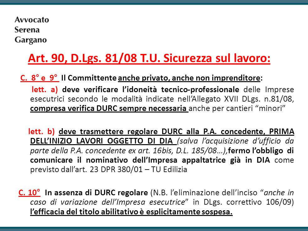Art.90, D.Lgs. 81/08 T.U. Sicurezza sul lavoro: C.