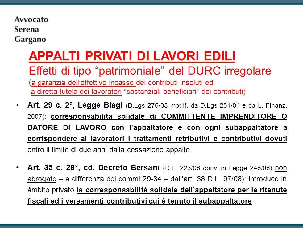 Art.29 c. 2°, Legge Biagi (D.Lgs 276/03 modif. da D.Lgs 251/04 e da L.