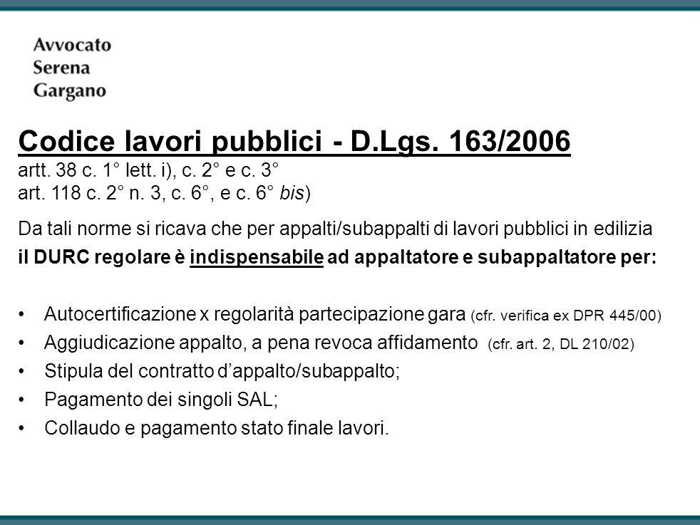 Codice lavori pubblici - D.Lgs.163/2006 artt. 38 c.