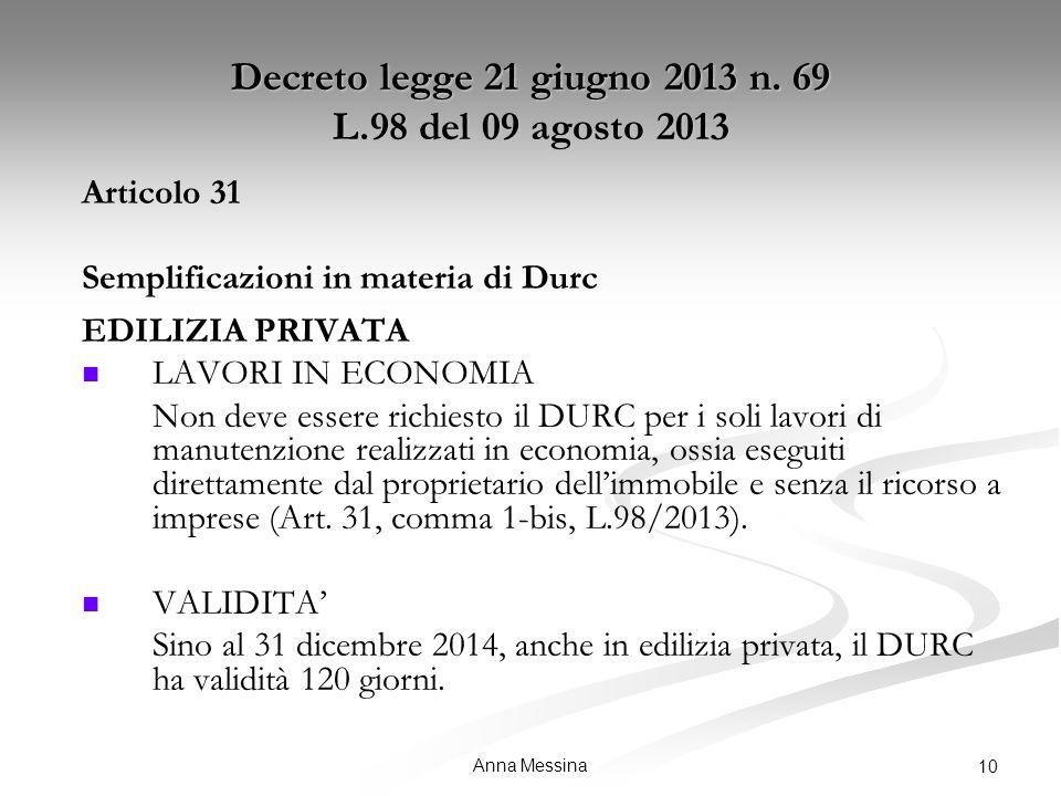 Anna Messina 10 Decreto legge 21 giugno 2013 n.