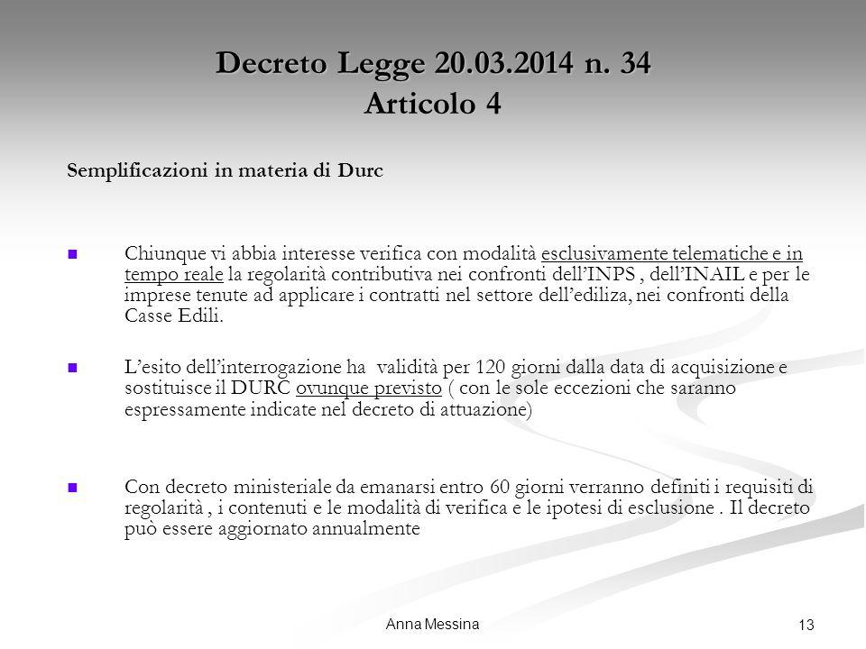 Anna Messina 13 Decreto Legge 20.03.2014 n.