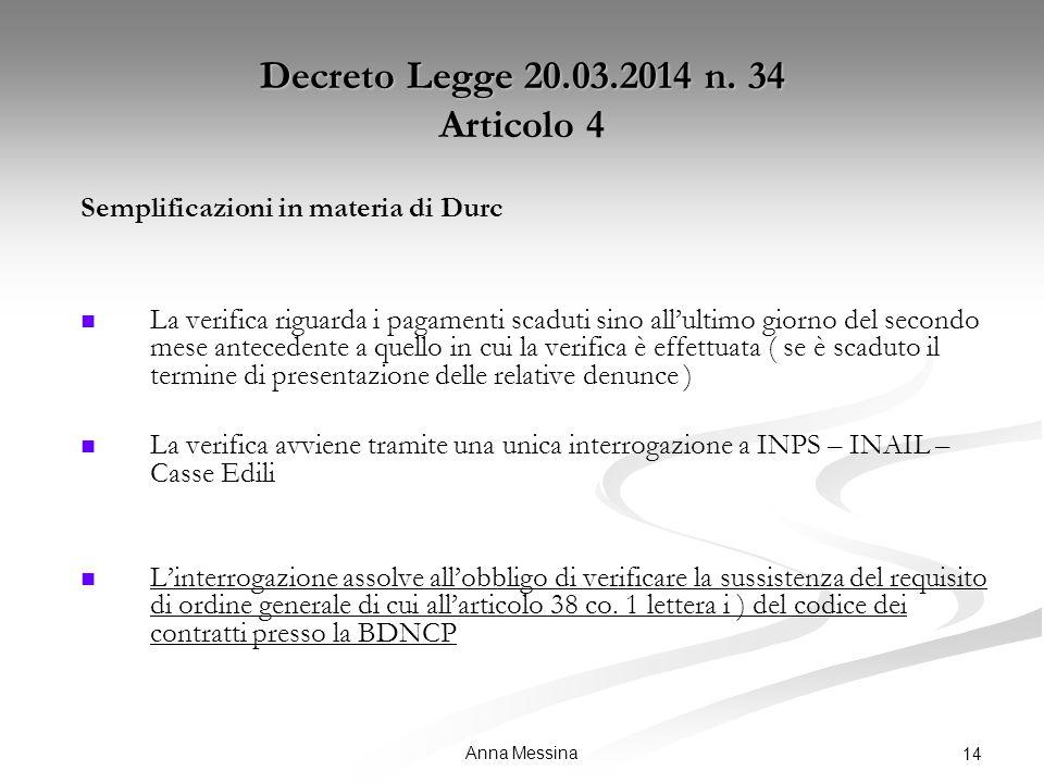 Anna Messina 14 Decreto Legge 20.03.2014 n.