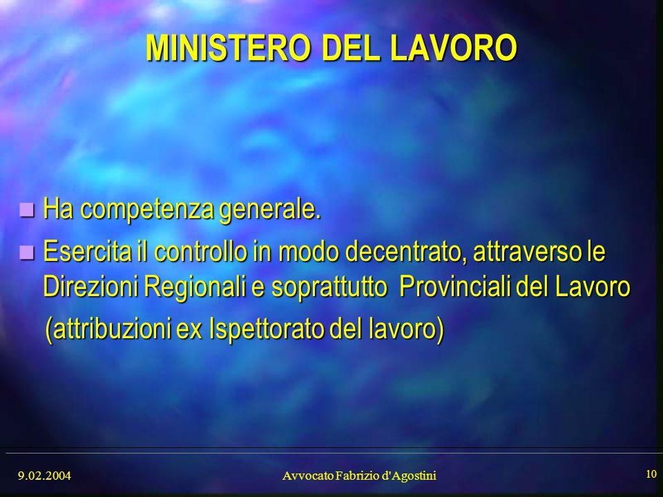 9.02.2004Avvocato Fabrizio d'Agostini 10 MINISTERO DEL LAVORO Ha competenza generale. Ha competenza generale. Esercita il controllo in modo decentrato